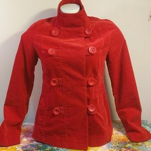 Red Double-breasted Military-style Jacket